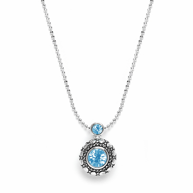 Lovely Antique Silver And Cubic Zirconia Pendant Necklace In Seven Gorgeous Colors