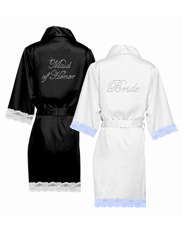 Rhinestone Personalized Lace Trimmed Satin Robes