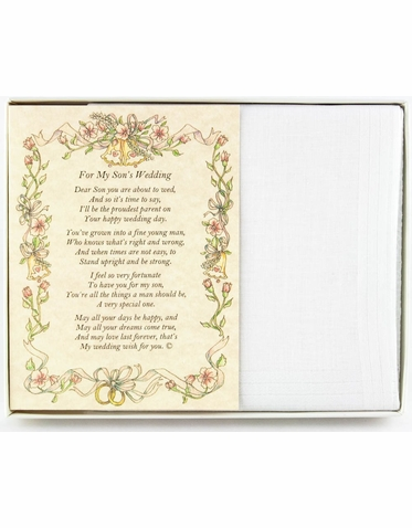 Wedding Handkerchief - From the Parent of the Groom to the Groom