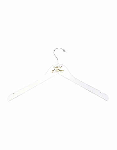 White Personalized Maid of Honor Hanger