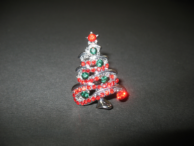 Christmas Tree Brooch - Red and Gree Christmas Pin