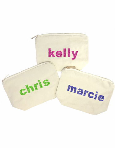 Glitter Personalized Cosmetic Bags in Natural Canvas