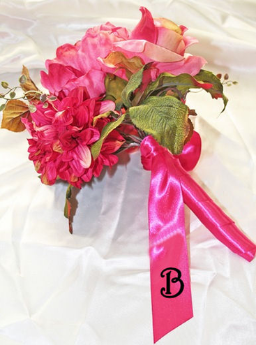 Personalized Bouquet Ribbon with Monogram or Initial