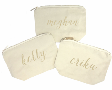Personalized Natural Cosmetic Bag with Gold Zipper