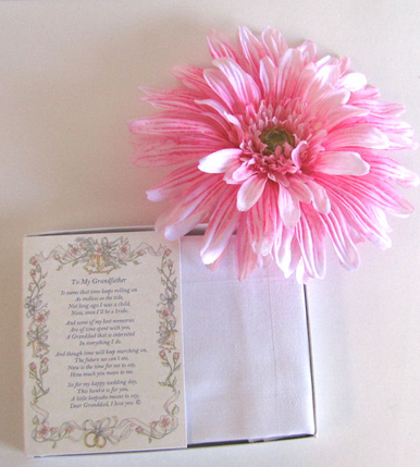 Wedding Handkerchief - Poetry Hanky for Bride's Father - A Mi Padre