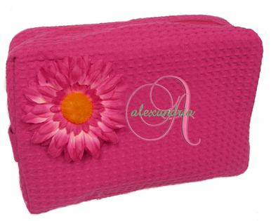 Monogrammed Cosmetic Bag with Daisy Brooch