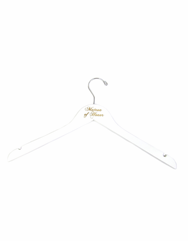 Engraved White Matron of Honor Hanger