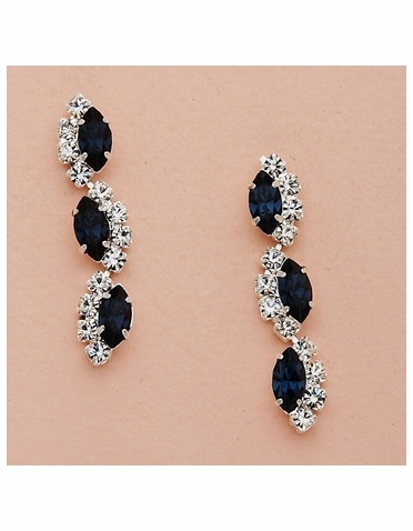 Alternating Marquise Crystal Drop Silver Earrings