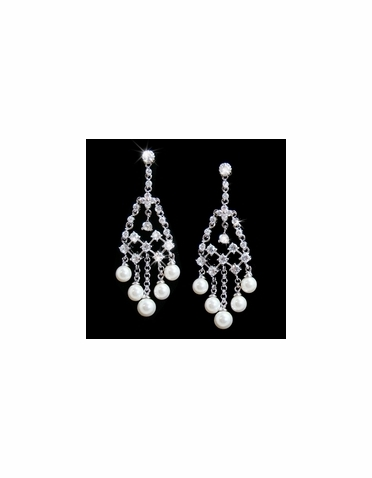 Pearl and CZ Chandelier Earrings