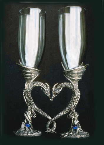 Regal Dragon Pewter Heart Goblets