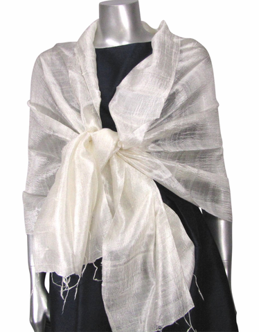 Silk Evening Wrap in Ivory