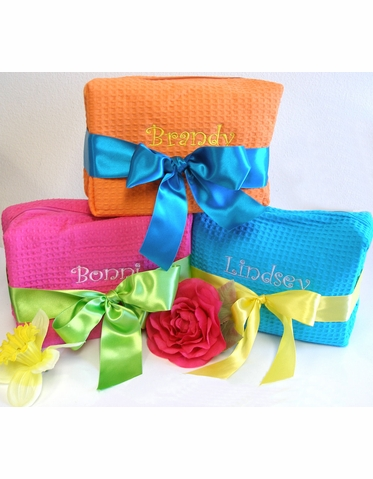 Personalized Cosmetic Bag with Optional Gorgeous Satin Ribbon Bow