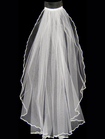 White Pearlized Bugled Beaded EdgeWedding Veil - Elbow Length