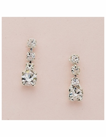 Silver Small Round Clear Crystal Drop Earrings