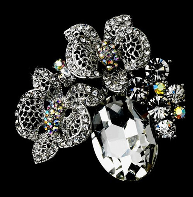 Crystal Brooch in Floral Design with Single Large Crystal