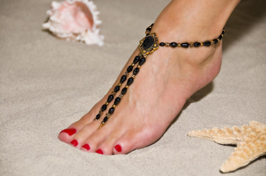 Exquisite Antique Black, Gold And Glass Bead Barefoot Sandals
