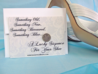 Vintage Lace Sixpence Shoe Card Gift