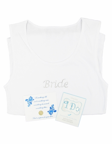 Something Blue Bridal Gift Set - Tank, Sixpence, I Do Shoe Applique