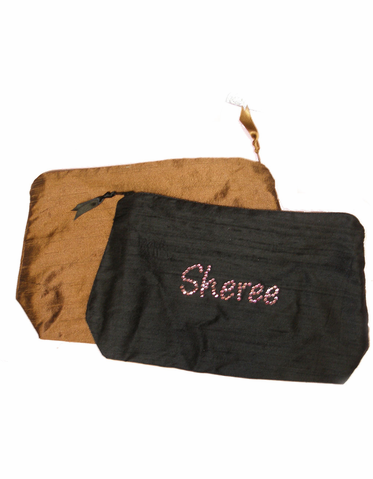 Crystal Embellished Cosmetic Bag Personalized with First Name