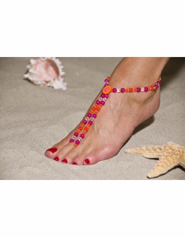 Exciting Hot Pink and Orange Barefoot Sandals