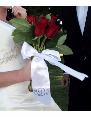 Crystal Monogrammed Bouquet Ribbon