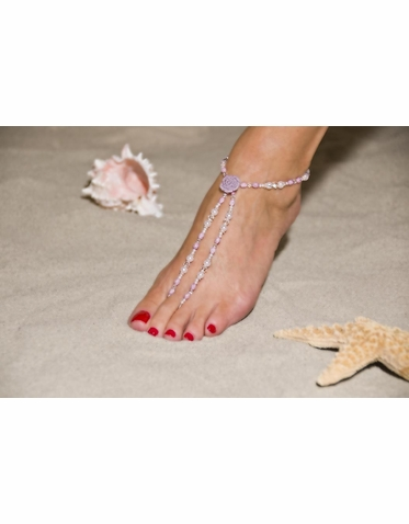 Lavender Faceted Bead And Sterling Barefoot Sandals