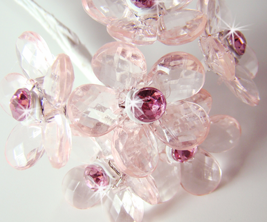 Pink Crystal Flower Bouquet Jewelry - Set of 12 Crystal Flowers