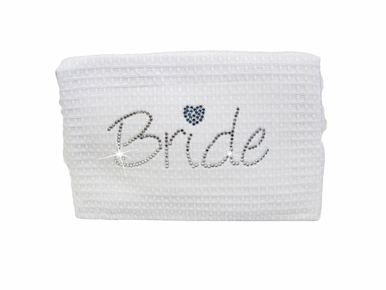 Waffle Weave Bride Cosmetic Bag - Perfect Something Blue!