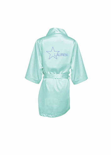 Personalized Star Satin Robe with Rhinestone Embellishment