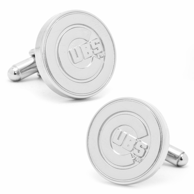 Officially Licensed Silver Edition Cubs Cufflinks
