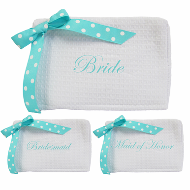 Embroidered Bridal Party Cosmetic Bags with Bow