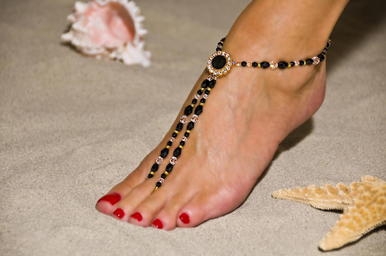 Elegant Black And Gold Barefoot Sandals
