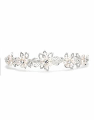 Crystal and Freshwater Pearl Bridal Tiara T1100 in Ivory/Silver or Ivory/Gold