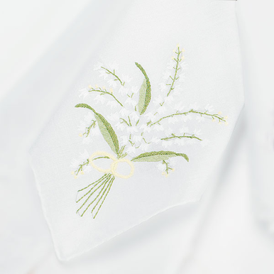CLEARANCE:  Lily of the Valley Embroidered Handkerchief