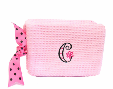 Embroidered Cosmetic Bag with Flower Letter Initial
