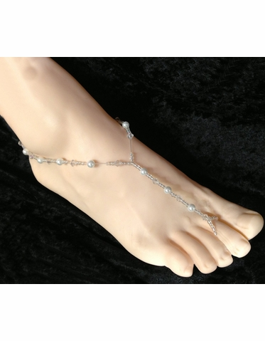CLEARANCE: White String of Pearls Barefoot Sandals