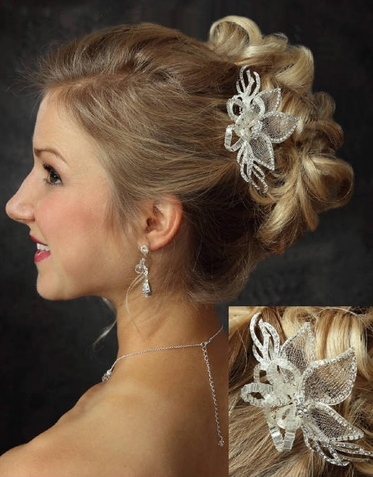 Mesh Floral and Rhinestone Hair Comb 7043
