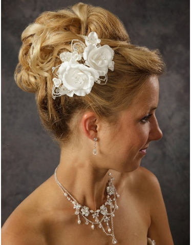 Satin Flower Hair Piece with Beaded Leaves 8049