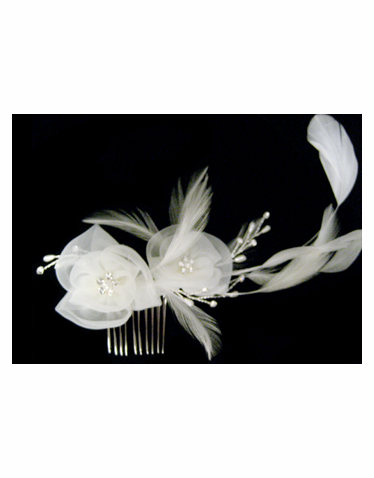 Flower and Feather Headpiece-S2301