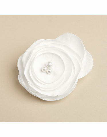 Soft Floral Hair Clip with Pearl Center Accent In White And Ivory