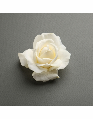 Lovely Realistic Soft Ivory Rose Hair Clip