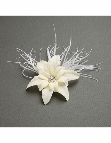 Silk Lily Flower Clip With Elegant Ostrich Feathers