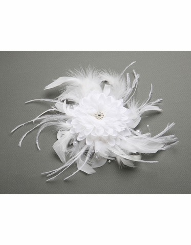 Feather And Pearl Fascinator Bridal Headpiece In White And Ivory