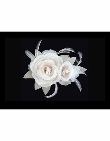 Special Collection Ivory and Beige Double Flower and Feather Headpiece S2182M
