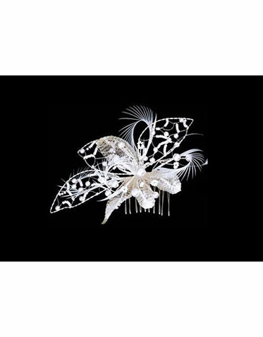Large Silver and Ivory Flower Hair Comb with Pearls and Feathers S2207M