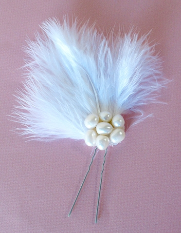 Marabou and Freshwater Pearl Hair Piece