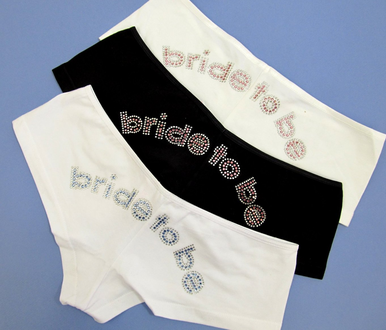 Rhinestone Bride to Be Boyshorts - Choice of Colors