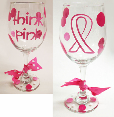 Think Pink - Pink Ribbon Wine Glass with Polka Dots