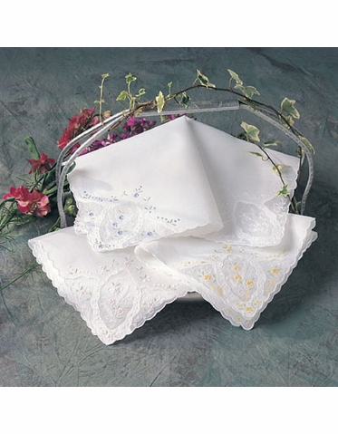 Floral Wedding Handkerchief with Personalization