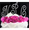 Three Piece Crystal Letters Cake Topper in Gold or Silver